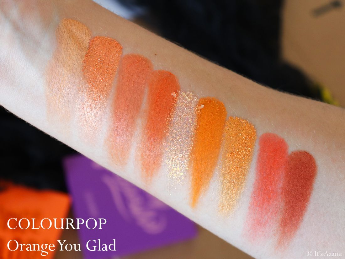 ColourPop Cosmetics | 9-Pan Eyeshadow Palettes - Blue Moon - Orange You Glad - Main Squeeze - It's My Pleasure - Strawberry Shake - Just My Luck - Uh-Huh Honey Review & Swatches Avis Palette - Test Revue - London Beauty Blogger - Paris Makeup Artist - Beauty Youtuber