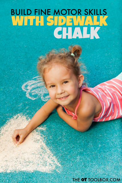 Use sidewalk chalk to build fine motor skills in kids