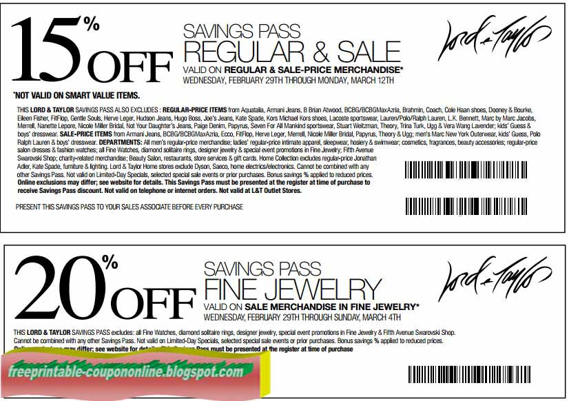Lord and taylor coupons 2019