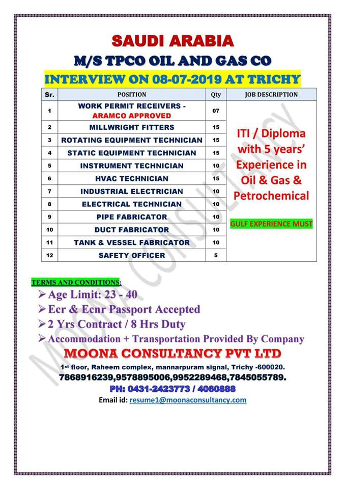 Safety Officer Jobs In Gulf 2019