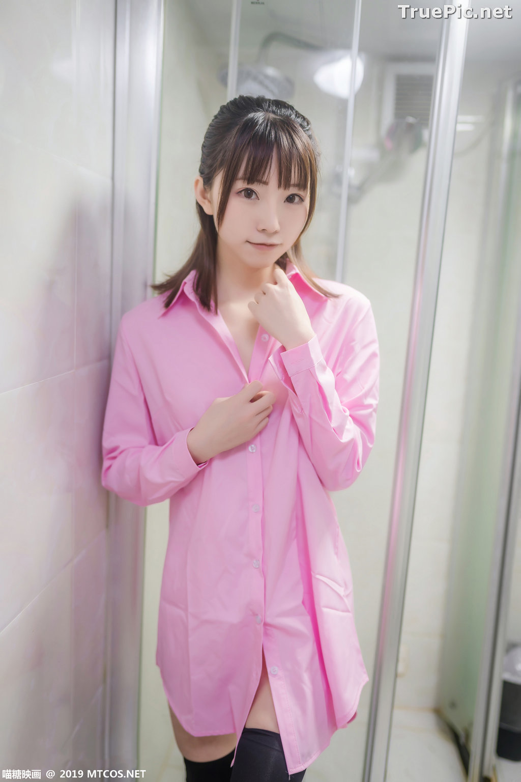 Image [MTCos] 喵糖映画 Vol.022 – Chinese Model – Pink Shirt and Black Stockings - TruePic.net - Picture-10