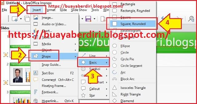 Cara menambahkan Square Rounded di Libre Office Impress