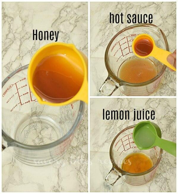 ingredients to make honey butter garlic sauce - honey,lemon juice,hot sauce