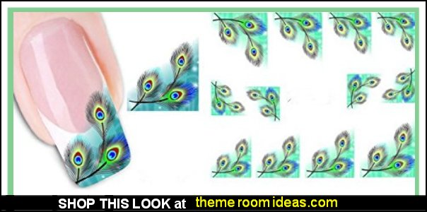 Peacock feathers Nail Stickers Nail Wraps Water Transfers Decals