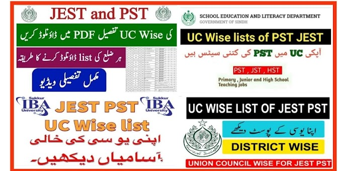 Latest Vacancy Position List of PST & JEST UC Wise Seats Distribution for Recruitment 2021 Sindh Education Teaching Jobs