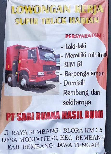 Lowongan Kerja Supir Truck Harian PT Sari Buana Hasil Bumi Rembang Tanpa Syarat Pendidikan