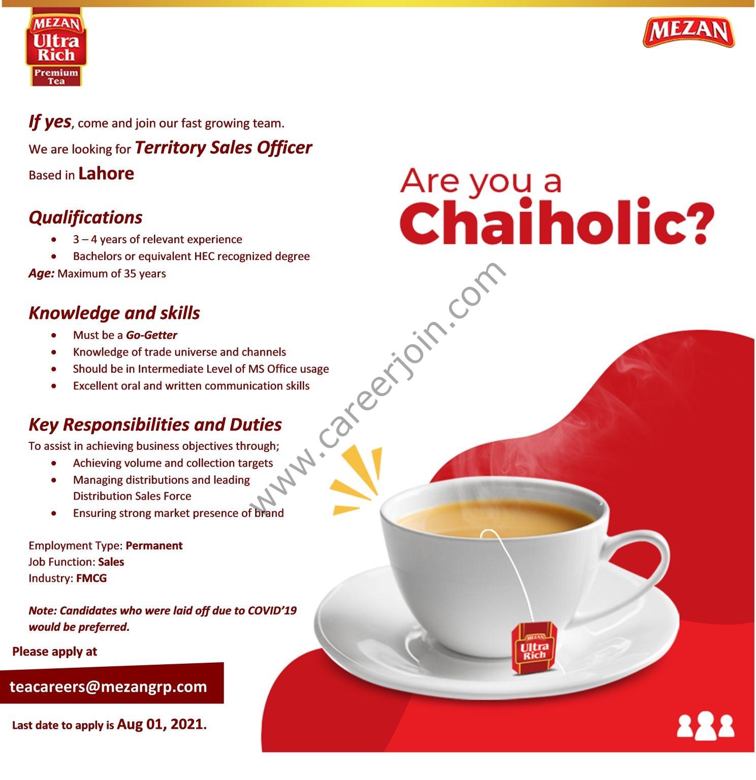 Mezan Tea Pvt Ltd Jobs Territory Sales Officer TSO