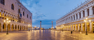 The Piazzetta San Marco, with the Doge's Palace on the  left and the Biblioteca Marciana opposite