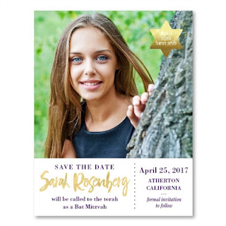 http://www.foreverfiances.com/Photo-Save-the-Date-for-Bat-Mitzvah-p/amazing_13_pix_save_re.htm