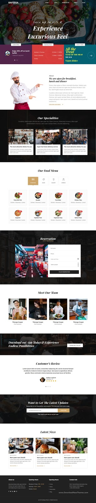 Website template for Restaurants & Food Business