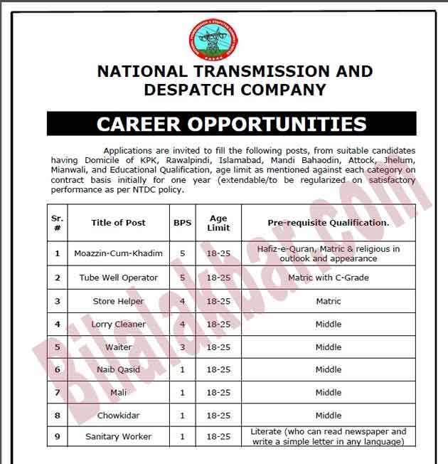 Jobs In National Transmission and Despatch Company (NTDC)