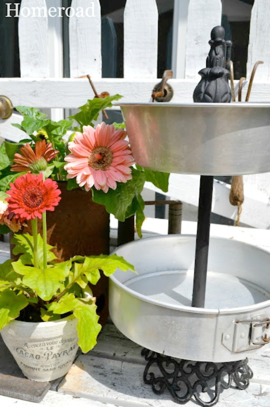 Tiered Trays from Vintage bakeware and flowers
