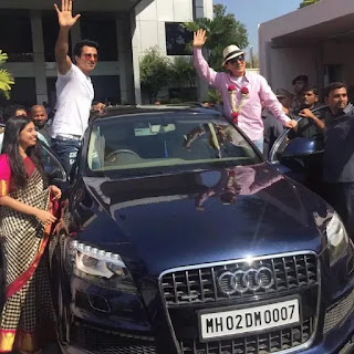 sonu with his family in audi Q7