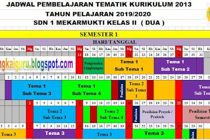Download Jadwal Pelajaran Tematik Kurikulum 2013 Tahun Pelajaran 2019-2020 Kelas 2 SD/MI Semester 1 dan 2