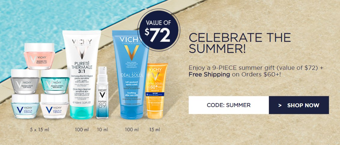 graphic relating to Vichy Coupon Printable identify $72 Summer time Offer you with Vichy Canada Serious Discounts for