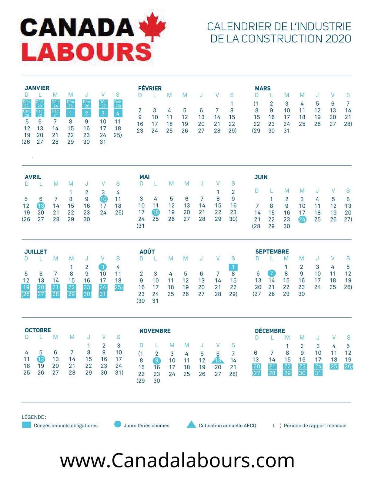 Vacances Construction 2020; Le calendrier des vacances 2020; Les vacances de la construction