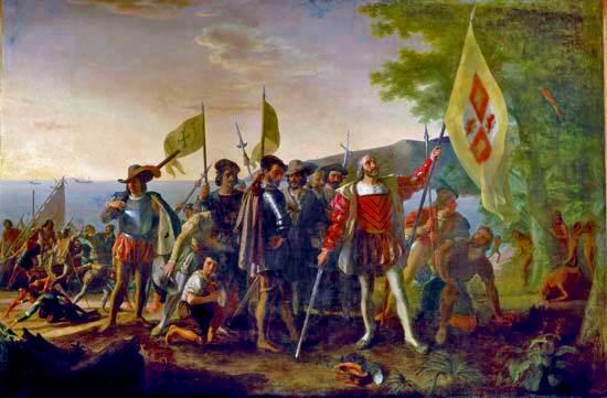 Aterrizaje de Colón, óleo sobre lienzo de John Vanderlyn, 1846