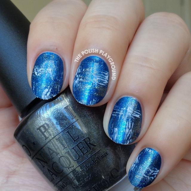 White Shatter and Dark Silver Brushstroke Nail Art