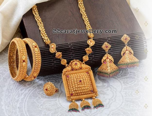 antique Beads Long Set with Temple Jhumkas