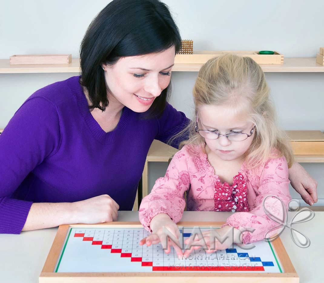 NAMC Montessori Absorbent Mind ch 27 The teacher's preparation. Teacher and girl working on memorization in math