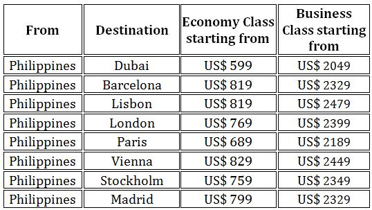 Special Rates from Emirates for 2018