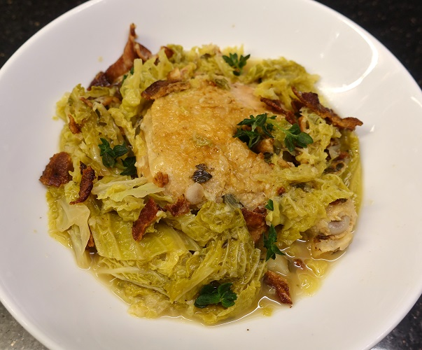 The Hungry Bunny: Braised Chicken with Savoy Cabbage & Bacon