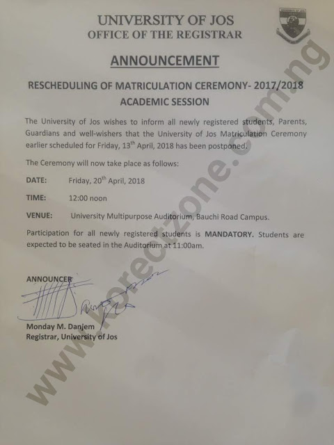 Official letter of Unijos 2017/2018 Matriculation Rescheduling by School Registrar