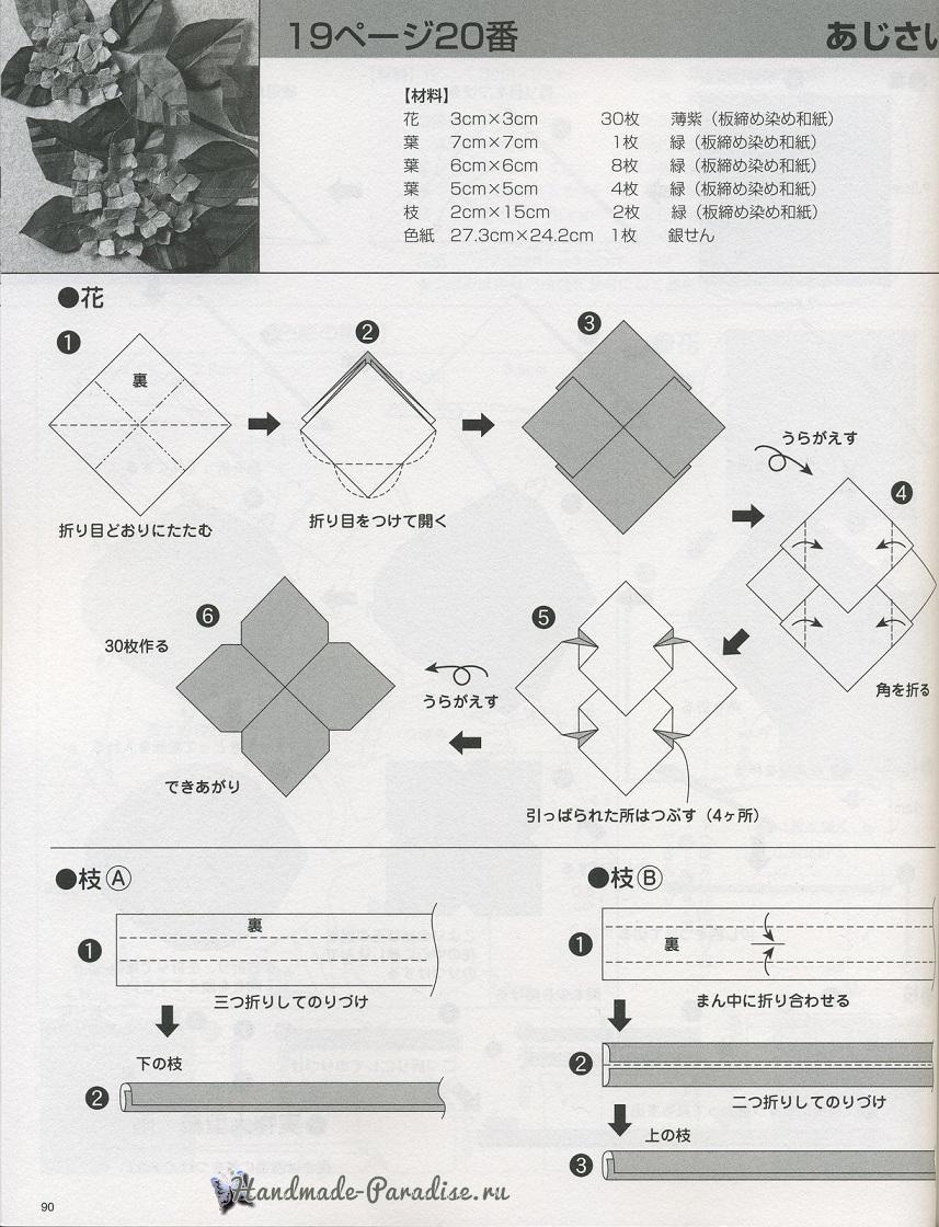 Гортензия из бумаги в технике оригами (4)