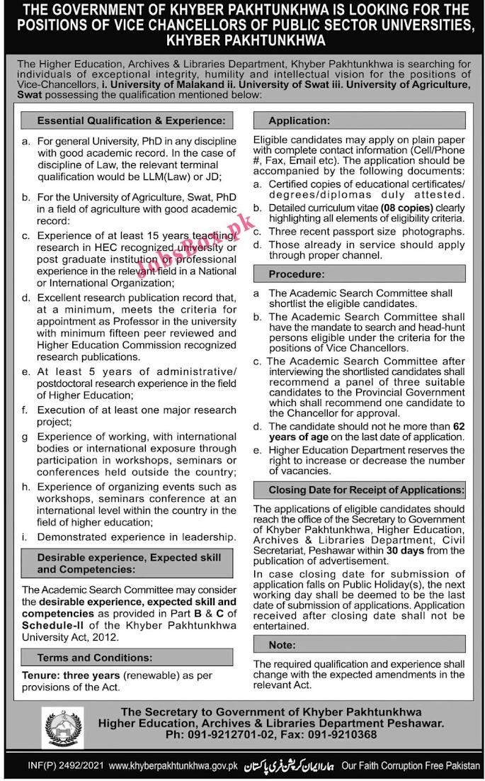 Latest Jobs in Higher Education Department HEC Public Sector University  KPK 2021