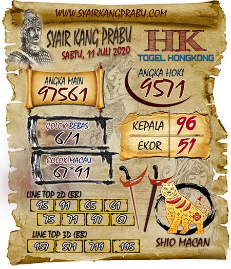 Syair Kang Prabu HK Sabtu 11 Juli 2020