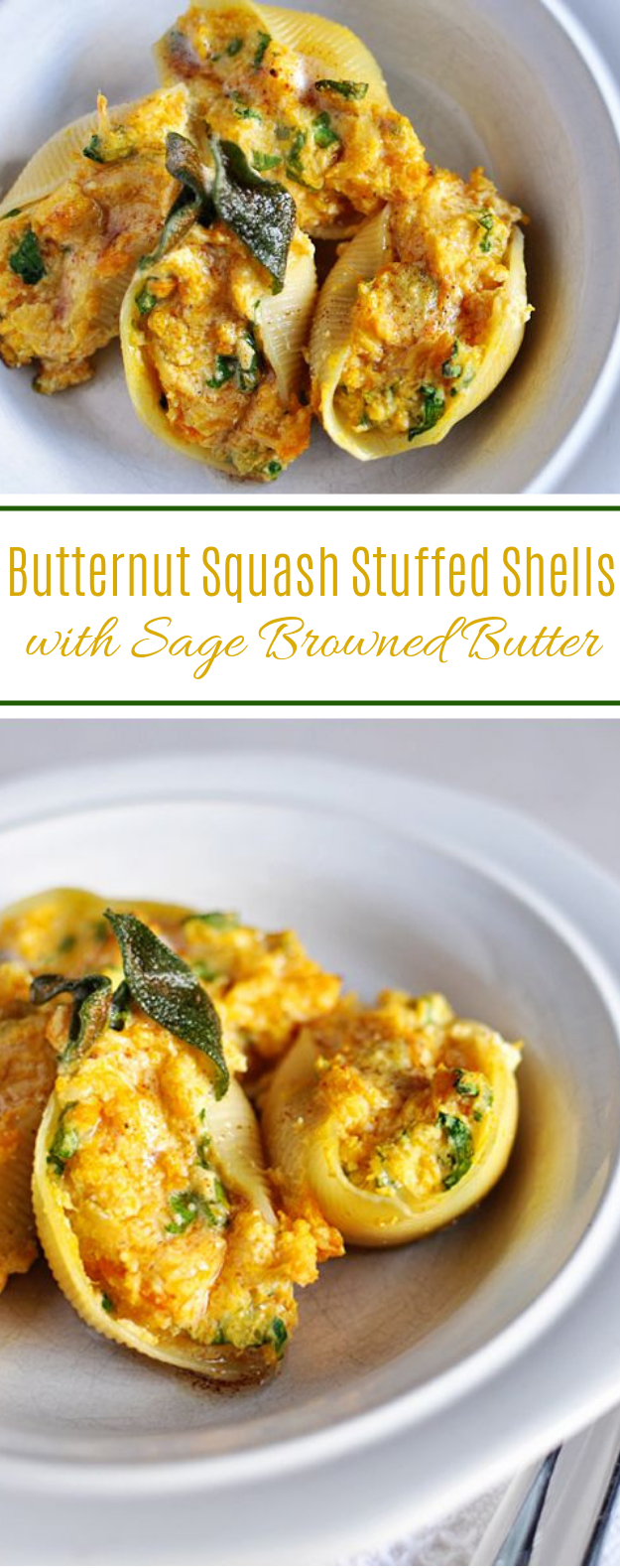 Butternut Squash Stuffed Shells with Sage Browned Butter #dinner #vegan
