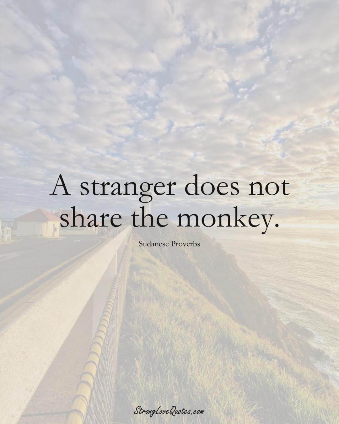 A stranger does not share the monkey. (Sudanese Sayings);  #AfricanSayings