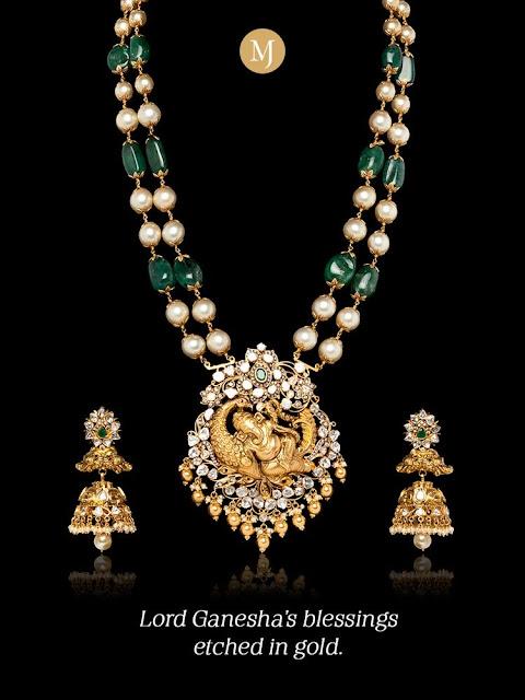 Emerald Beads Set Ganesh Polki Pendant