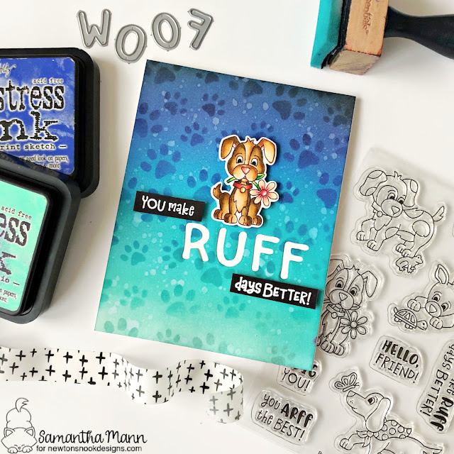 Ruff Days Better Dog Friendship card by Samantha Mann | Puppy Friends Stamp Set, Essential Alphabet Die Set and Pawprints Stencil by Newton's Nook Designs #newtonsnook