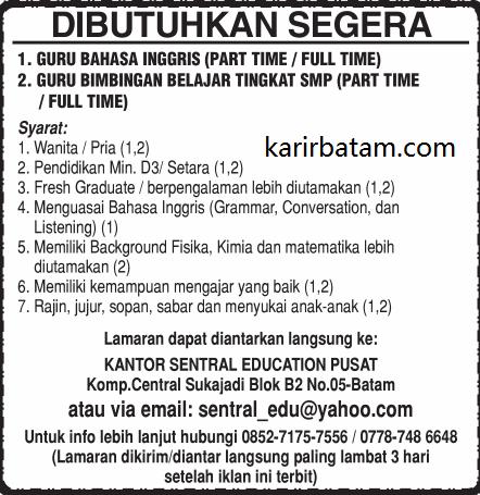 Lowongan Kerja Sentral Education Pusat Sukajadi