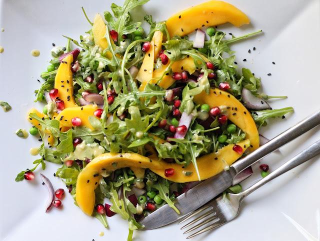 Mango Pomegranate Salad with Lime Tahini Dressing