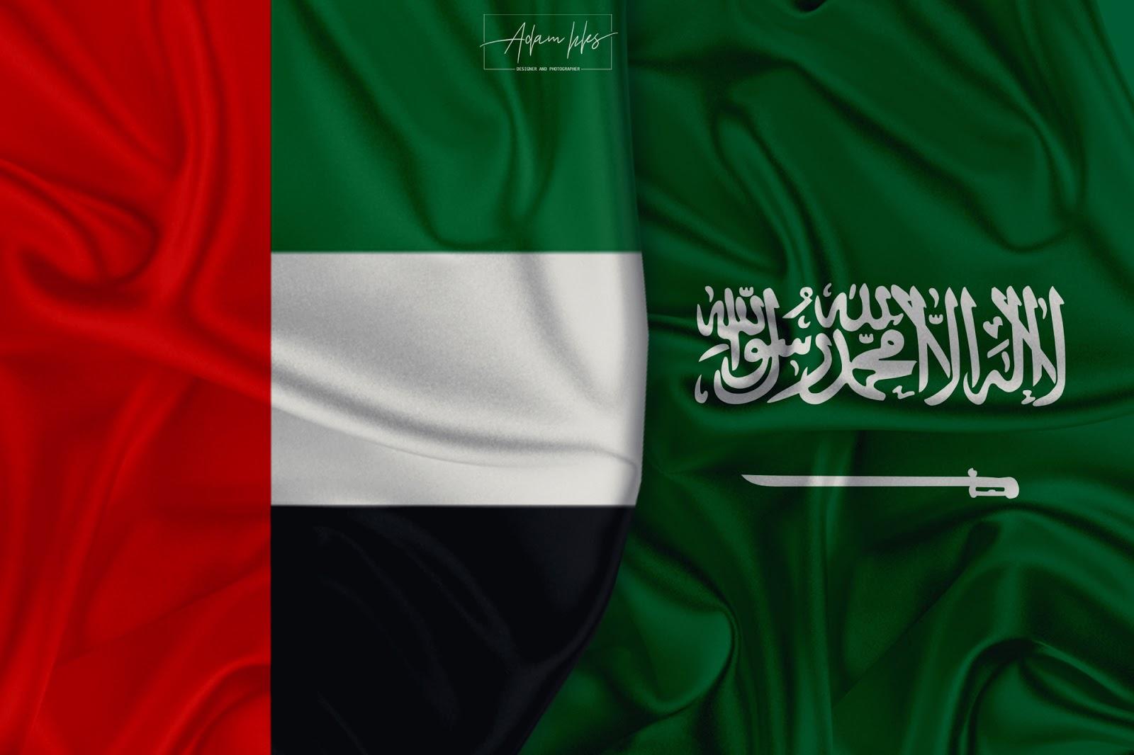 علم الامارات وعلم السعودية