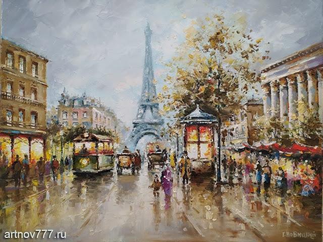 Париж, вид еа Эйфелевую башню.