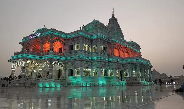 Prem Mandir changing light Night View images