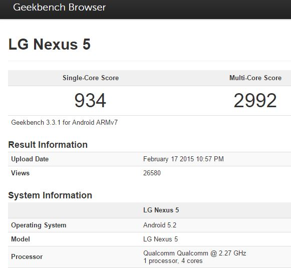 Android 5.2 running on Nexus 5 in benchmark test result