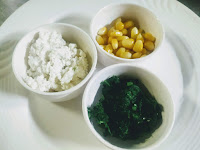 Boil corn,,, blanch spinach and grated cottage cheese paneer for corn spinach for veg burger recipe