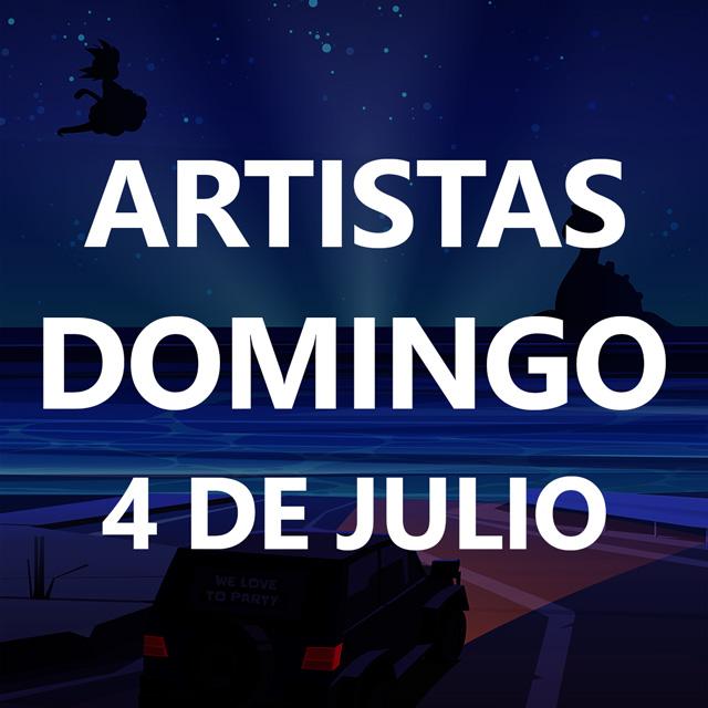 Dibujo de un coche iluminando una playa de noche. La frase Domingo 4 de Julio se puede leer en grande tapando el dibujo