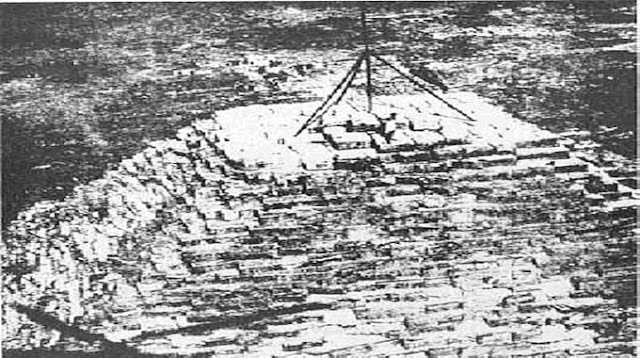 Missing Capstone along the flagpole to mark the original height of the pyramid (146.59 meters - 490 feet) placed by two astonomer in 1874