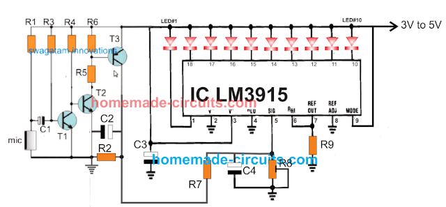 sequential LED bar meter for vibration strength measurement circuit