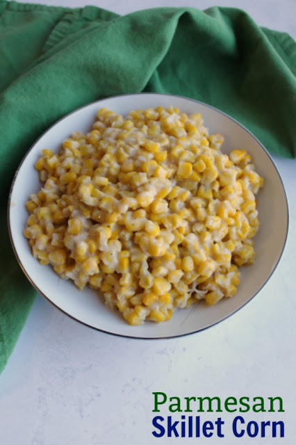 bow of creamy parmesan corn ready to serve