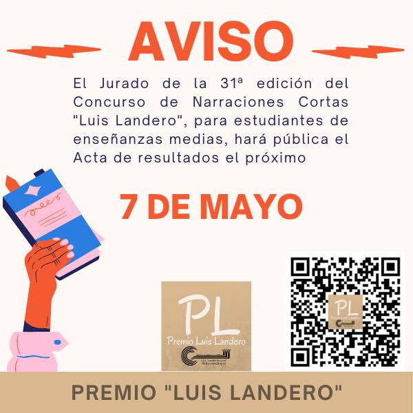 Anuncio de publicación de resultados del concurso Landero el próximo 7 de mayo.