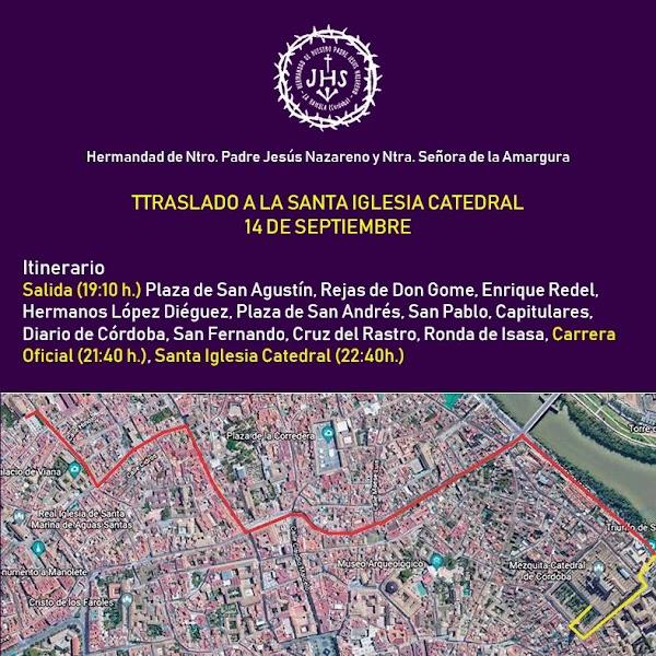 Horario e Itinerario de la Hermandad del Nazareno de La Rambla en la Magna de Córdoba