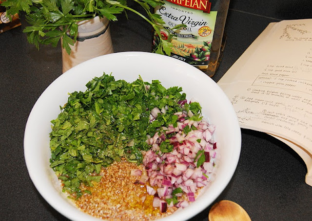 Parsley and Vegetables to Make Tabouli image