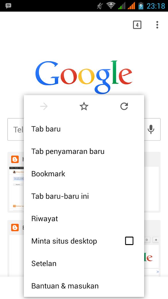 Fungsi tab Penyamaran Incognito Mode Chrome Android