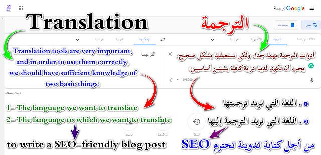 طريقة استخدام ادوات الترجمة خلال كتابة تدوينة احترافية تحترم SEO